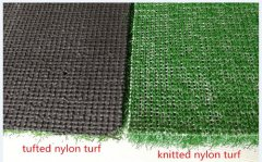 Service life for golf mats with knitted nylon turf